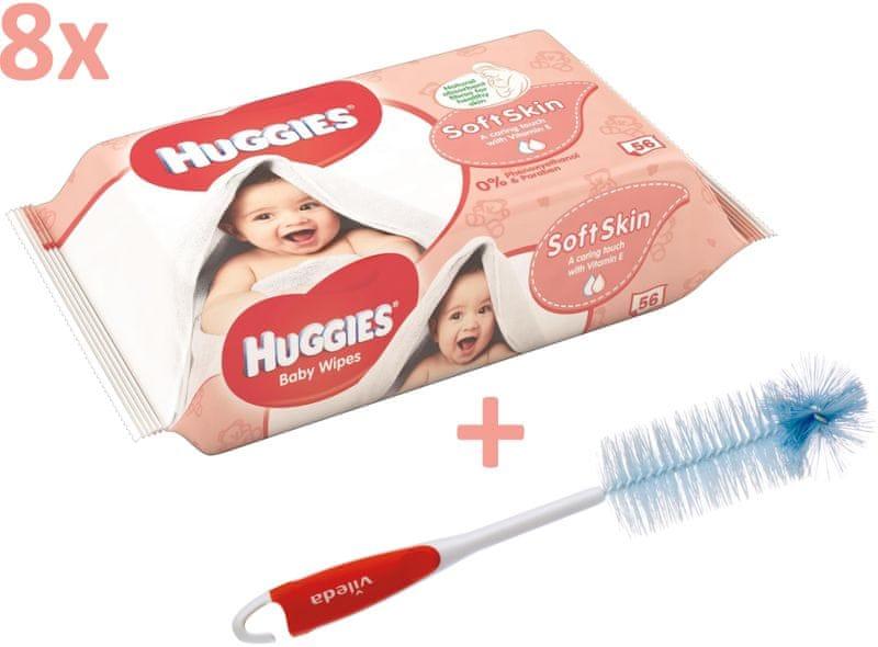 Huggies Vlhčené ubrousky Soft skin Quatro Pack 8×56 ks + Vileda kartáč na kojenecké lahve