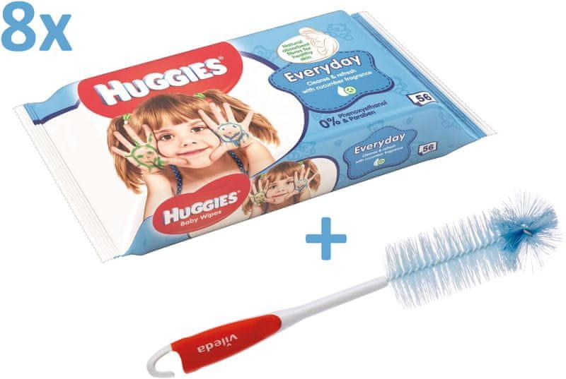 Huggies Vlhčené ubrousky Everyday Quatro Pack 8×56 ks + Vileda kartáč na kojenecké lahve