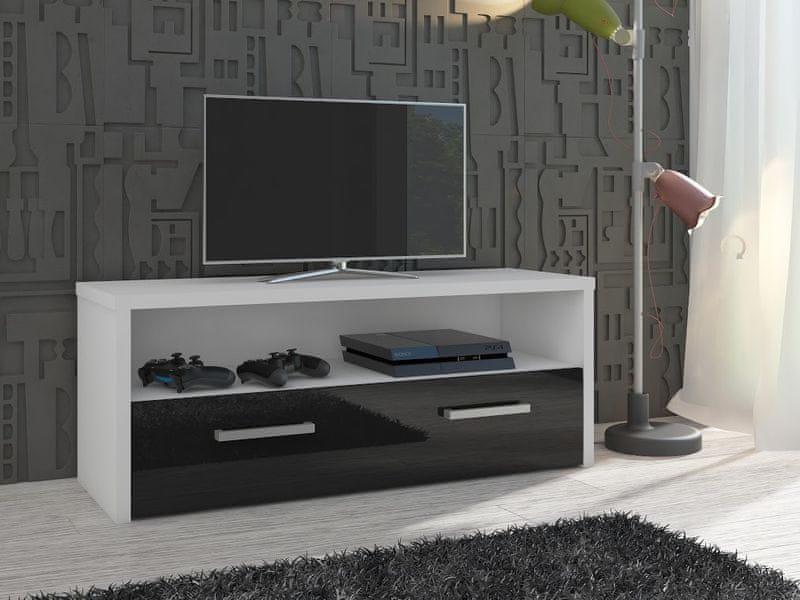 TV stolek TIRANA, bílá/černý lesk