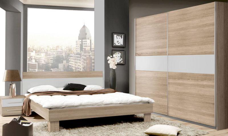 GOLDSTAR, ložnice komplet II, dub sonoma/bílá