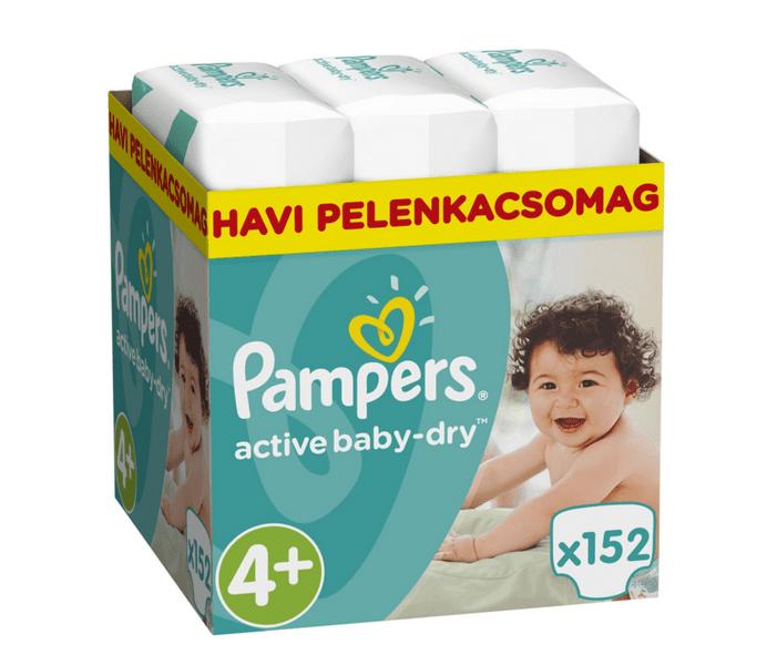 Pampers Pleny Active Baby 4+ Maxi (9-16kg) měsíční balení - 152 ks