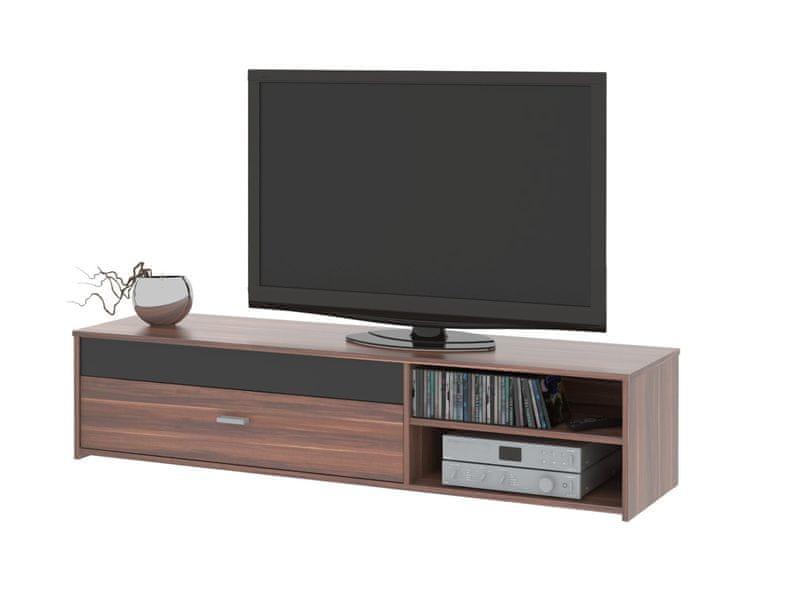 Televizní stolek FU03, švestka/černá