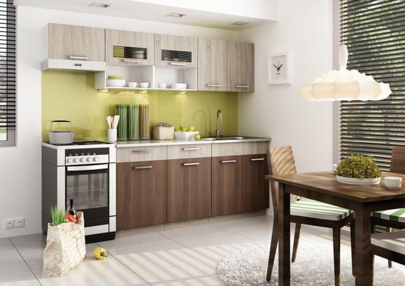 Kuchyně MORENO II 180/240 cm, dub sonoma/akácie