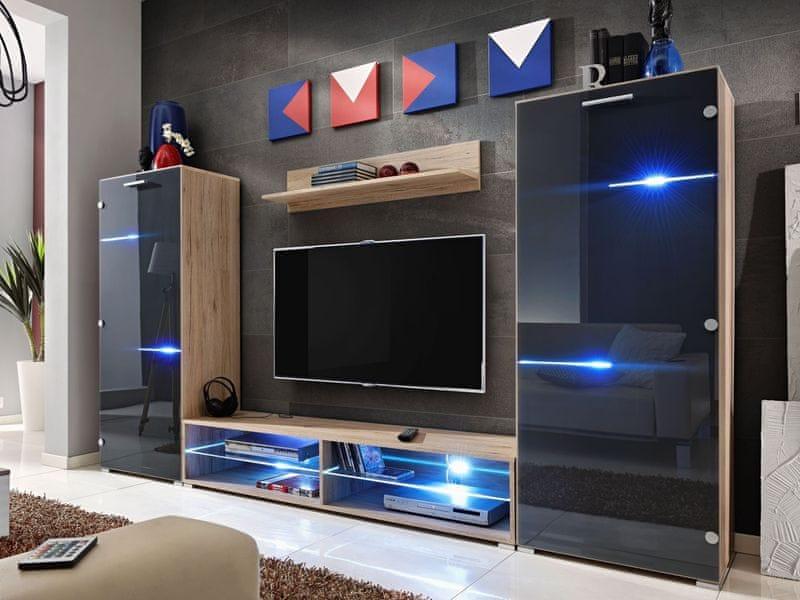 MODERN, obývací stěna, dub san remo/grafit lesk