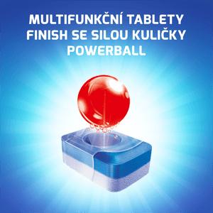 Multifunkční tablety Finish se silou kuličky Powerball