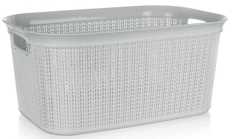 BRILANZ Koš na prádlo ratanový 38 l, 56,6 x 36,6 x 25,5 cm šedá