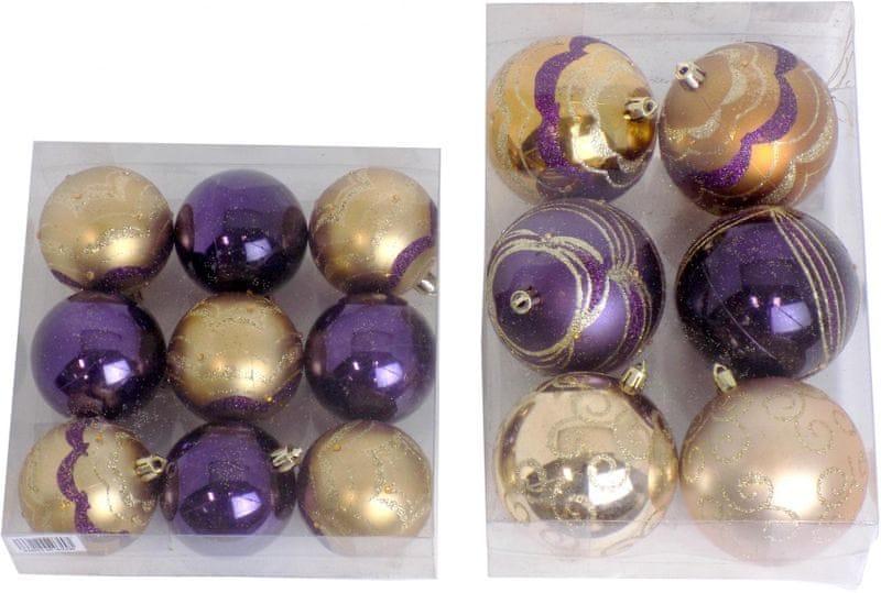 Seizis Vánoční koule 6x 8 cm + 9x 6 cm, zlatá/fialová