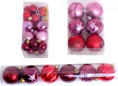 Seizis božične bunkice, rdeče / roza, 32 kosov