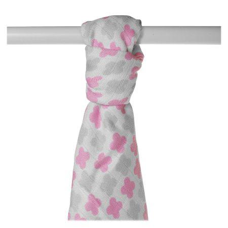 XKKO Bambusová osuška BMB 90x100 - Scandinavian Baby Pink Cross