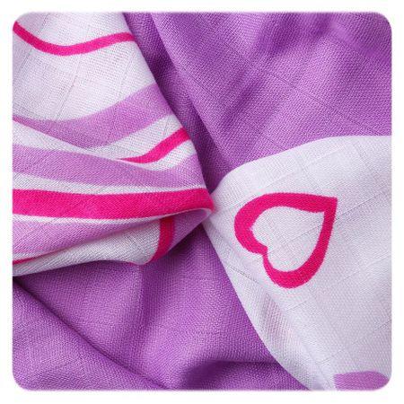 XKKO Bambusové ubrousky Hearts&Waves 30x30 cm, 9ks 28 x 39 cm fialová