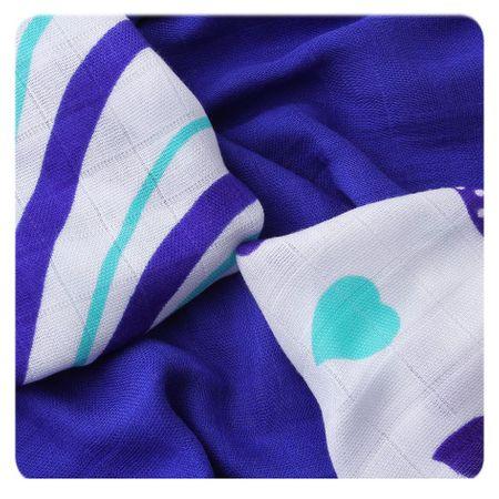 XKKO Bambusové ubrousky Hearts&Waves 30x30 cm, 9ks 28 x 39 cm modrá