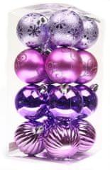 Seizis Vánoční koule 32 ks, fialová/růžová