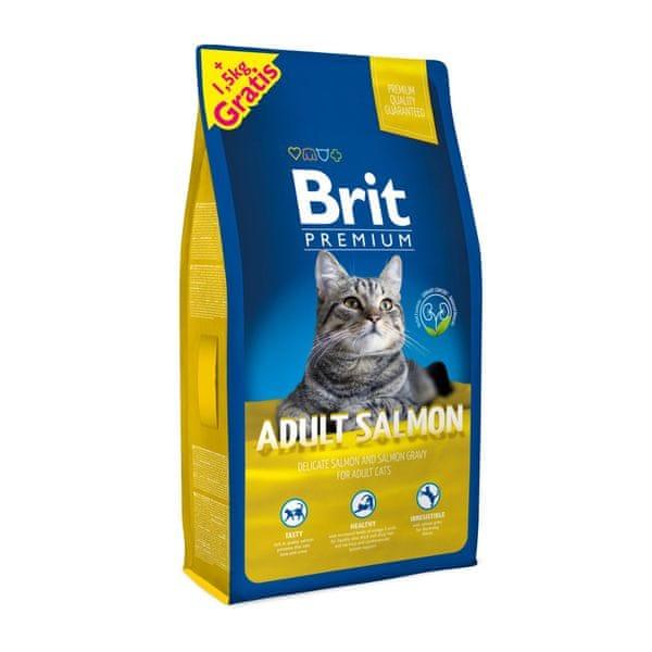 Brit Premium Cat Adult Salmon 8 + 1,5 kg Zdarma
