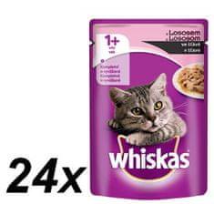 Whiskas mokra hrana z okusom lososa Adult 1+, 24 x 100 g