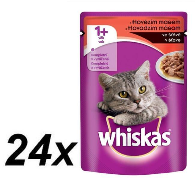 Whiskas kapsička s hovězím ve šťávě 24x100g