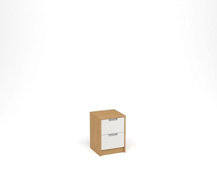 ANTERIA Noční stolek, 2 zásuvky, buk/bílá
