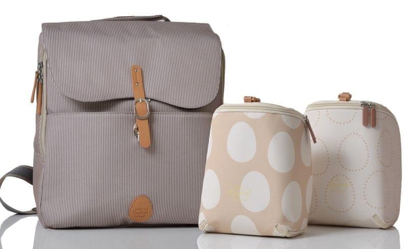 PacaPod HASTINGS - batoh i přebalovací taška šedobéžová