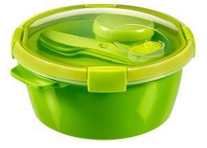 Curver set Smart To Go, 1,6 l, s priborom, krožnikom in posodico, zelene barve