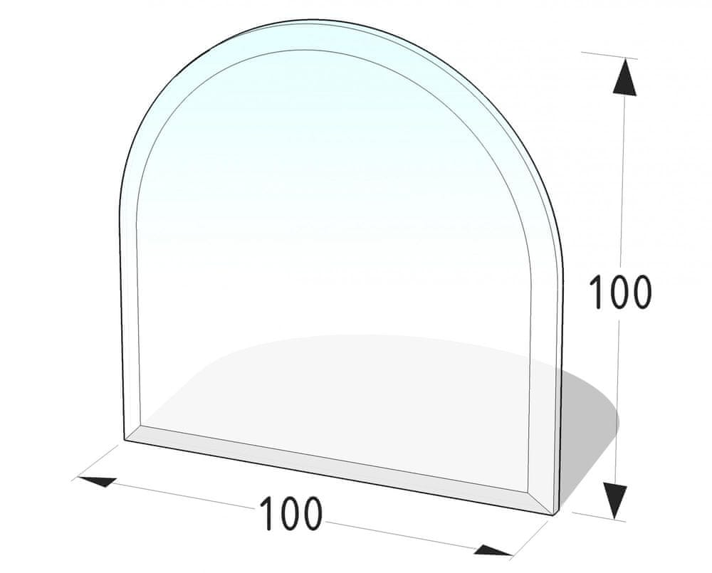Lienbacher Sklo pod kamna půloblouk s fazetou 100x100