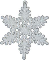 Seizis Felakasztható fehér hópehely 8 cm, 4 drb