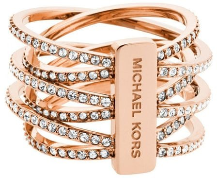 Michael Kors Pozlacený ocelový prsten s krystaly MKJ4424791 (Obvod 54 mm)