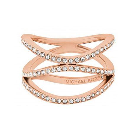 Michael Kors Powleczone pierścień stalowy z kryształów MKJ6640791 (obwód 57 mm)