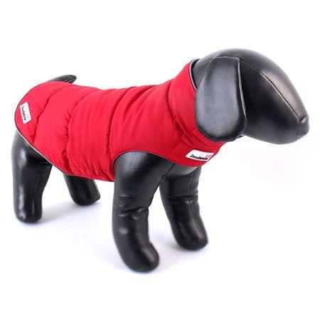 Doodlebone Téli kutyakabát, Piros/Szürke, XL