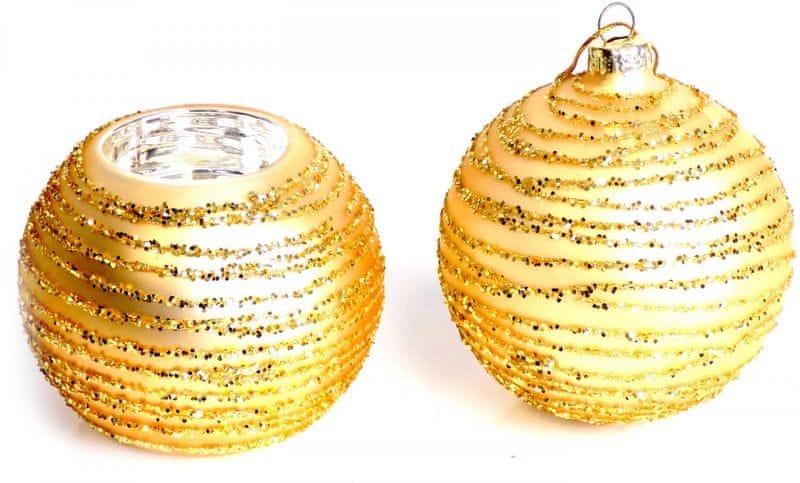 Seizis skleněná koule 8 cm + svícen zlatá