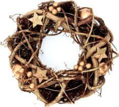 Seizis Věnec přírodní s hvězdičkami zlatý, 25 cm