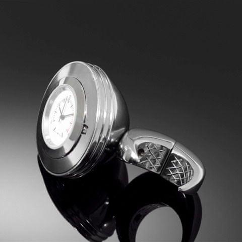 Highway-Hawk hodinky SPACE na řídítka o průměru 25/32mm, chrom/bílý ciferník
