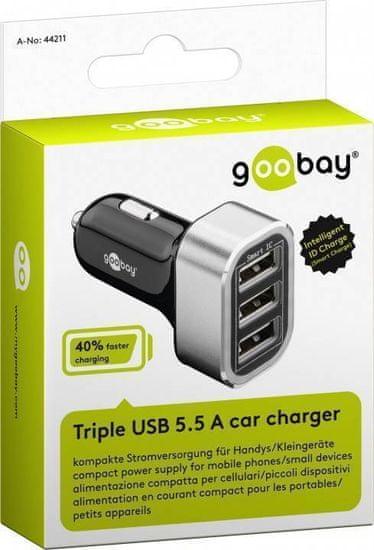 Goobay avtomobilski polnilnik s trojnim USB-jem, 5.5 A