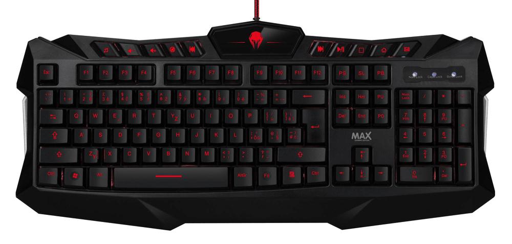 MAX Herní podsvícená klávesnice, černá