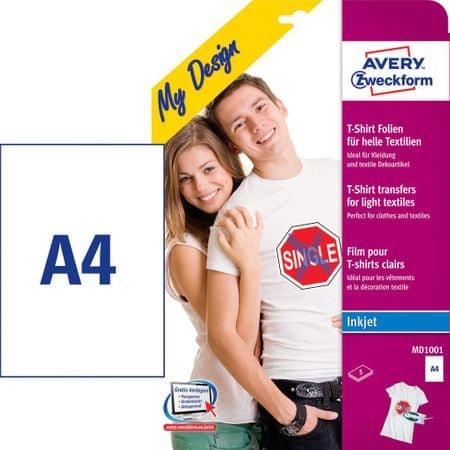 Avery Zweckform folije za preslikavo na svetle majice MD1001, 210 x 297 mm