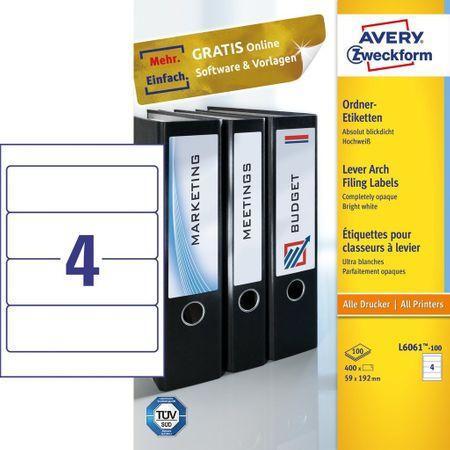 Avery Zweckform Etikete Zweckform za registratorje L6061-100 192 X 59 100 listov