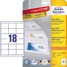 Avery Zweckform Etikete 6171, 64 x 45 mm, bele, 25 listov