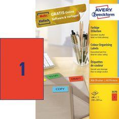 Avery Zweckform Etikete 3470 210X297, rdeče, zavitek 100 listov