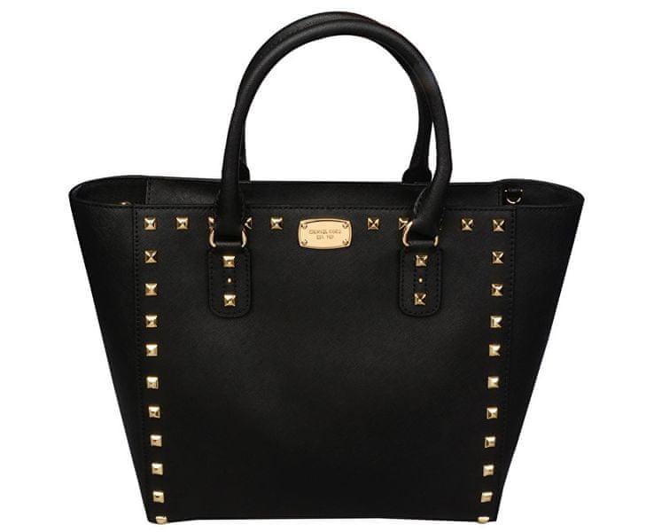 Michael Kors Luxusní kožená kabelka Sandrine Stud Saffiano Leather Studded Large Tote Bag - Black