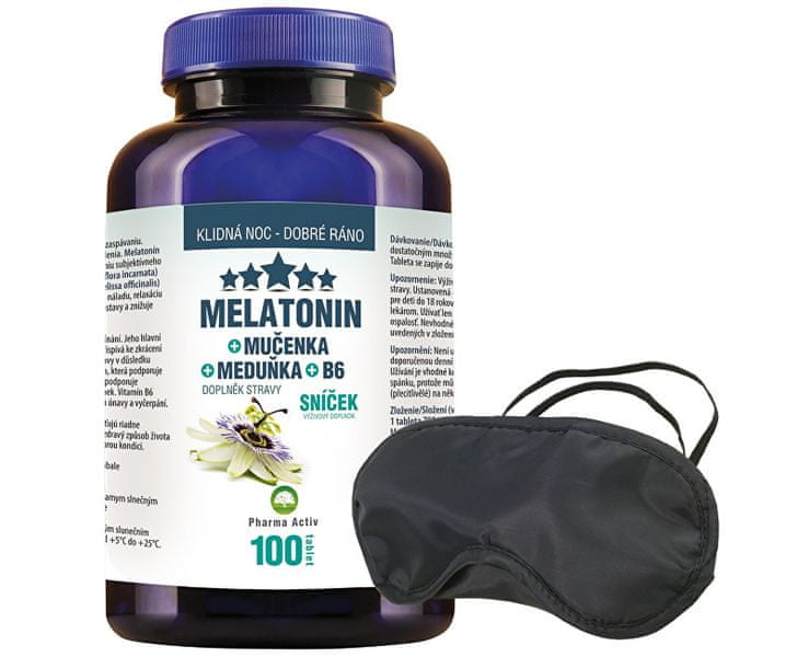 Pharma Activ Melatonin Mučenka Meduňka B6 80 tbl. + 20 tbl. ZDARMA + Škraboška na spaní ZDARMA