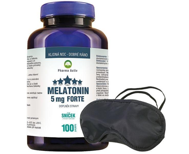 Pharma Activ Melatonin 5 mg Forte 80 tbl. + 20 tbl. ZDARMA + Škraboška na spaní ZDARMA