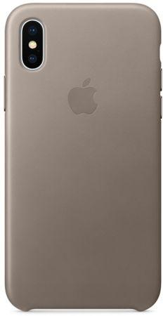 Apple Kožený kryt, Apple iPhone X, MQT92ZM/A, kouřová