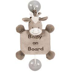 Nattou konjiček Noe z znakom za opozarjanje na otroka v avtomobilu Baby on board