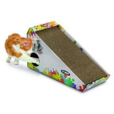 Argi Kartónové škrabadlo pre mačky s hračkou a šantou 48 x 27 x 20 cm