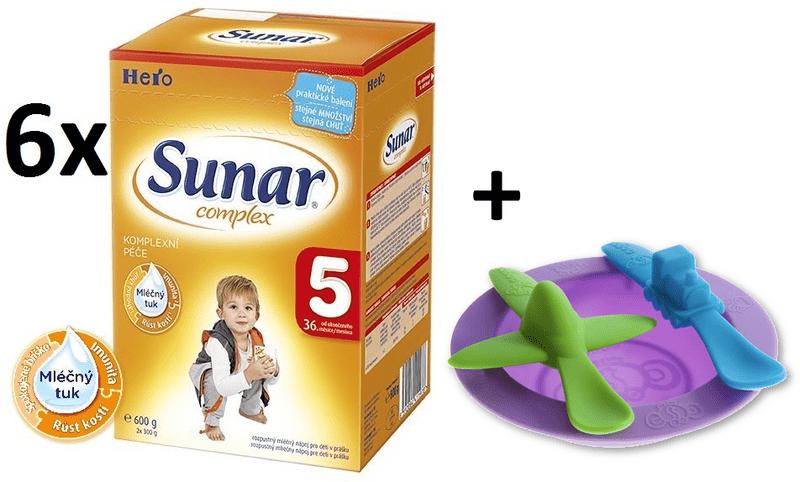 Sunar kojenecké mléko Complex 5 - 6x600g + Miska se lžičkami Oogaa