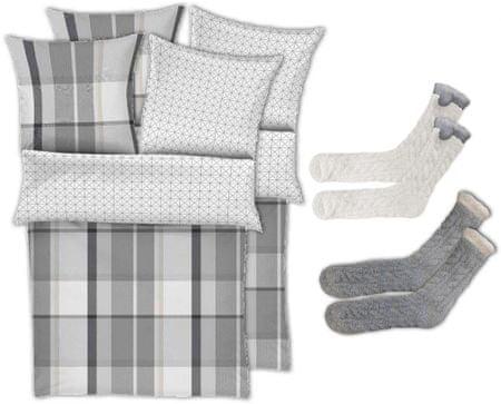 s.Oliver posteljnina Flanel, siva, 2 kosa + nogavice, 2 kosa