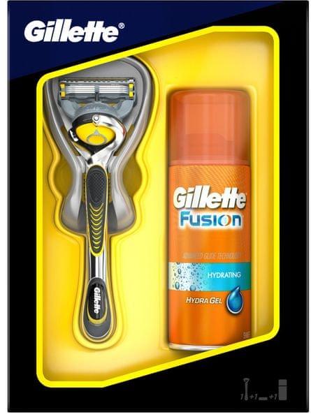 Gillette Fusion Proshield Holící strojek + Fusion Hydrating Pánský gel na holení 75 ml (dárková sada)