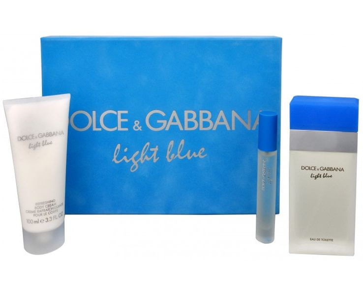 Dolce & Gabbana Light Blue - EDT 100 ml + tělový krém 100 ml + toaletní voda s rozprašovačem 7