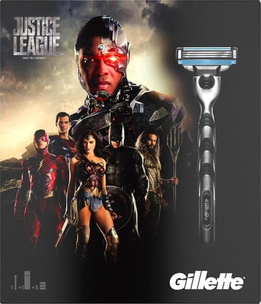 Gillette Mach3 Holící strojek + 2 hlavice + Gel na holení 75 ml - Limit Edice Justice League