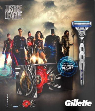 Gillette Mach3 Turbo britvica + 2 nadomestni glavi + set za virtualno realnost Justice League