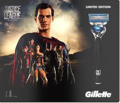 Gillette Fusion ProShield britvica + 2 nadomestni glavi + gel Fusion ProGlide Sensitive, Justice League