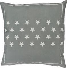 TORO Šedý vankúš 40x40 cm s bielymi hviezdičkami
